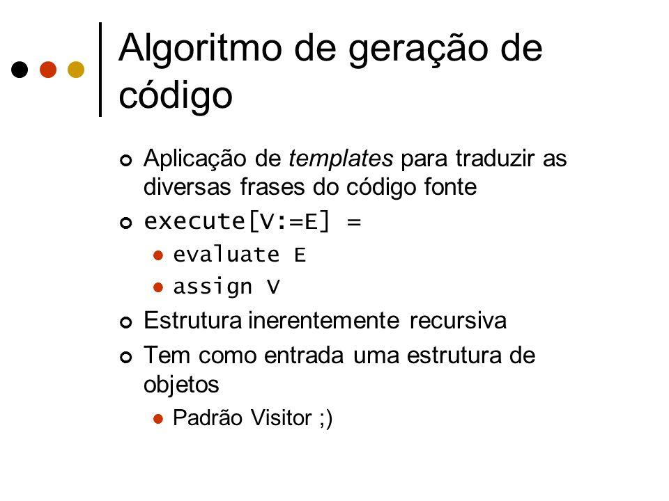 Algoritmo de geração de código Aplicação de templates para traduzir as diversas frases do código fonte execute[V:=E] = evaluate E assign V Estrutura i