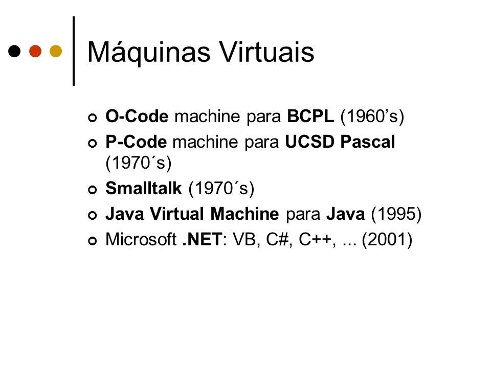 O-Code machine para BCPL (1960's) P-Code machine para UCSD Pascal (1970´s) Smalltalk (1970´s) Java Virtual Machine para Java (1995) Microsoft.NET: VB,