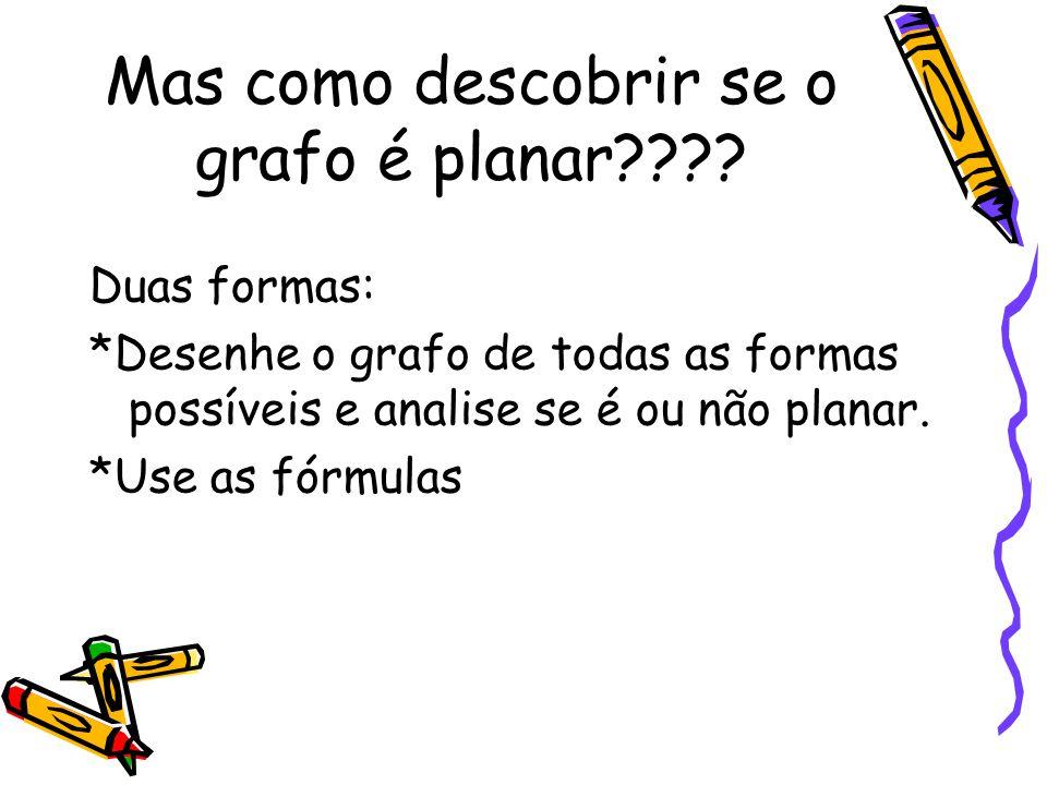 Mas como descobrir se o grafo é planar???? Duas formas: *Desenhe o grafo de todas as formas possíveis e analise se é ou não planar. *Use as fórmulas
