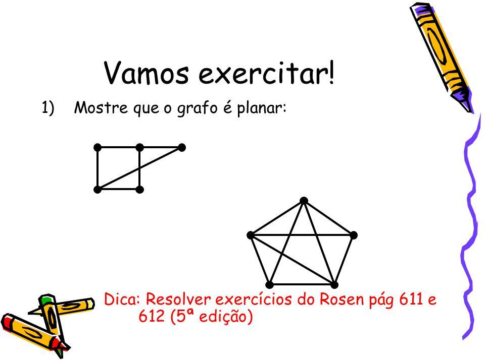 Vamos exercitar! 1)Mostre que o grafo é planar: Dica: Resolver exercícios do Rosen pág 611 e 612 (5ª edição)