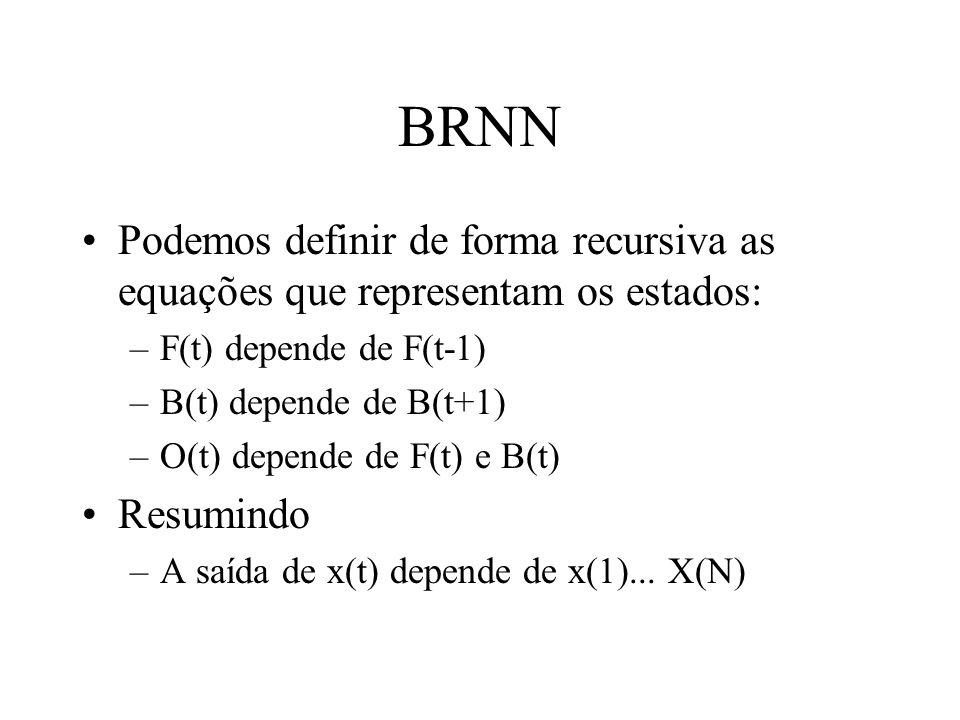BRNN Podemos definir de forma recursiva as equações que representam os estados: –F(t) depende de F(t-1) –B(t) depende de B(t+1) –O(t) depende de F(t) e B(t) Resumindo –A saída de x(t) depende de x(1)...