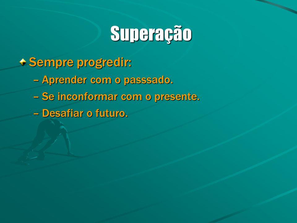 Superação Superação Sempre progredir: –Aprender com o passsado. –Se inconformar com o presente. –Desafiar o futuro.