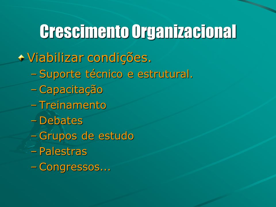 Crescimento Organizacional Viabilizar condições. –Suporte técnico e estrutural. –Capacitação –Treinamento –Debates –Grupos de estudo –Palestras –Congr