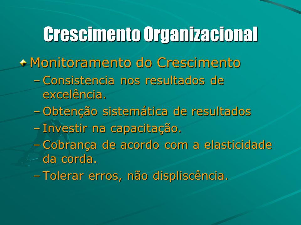 Crescimento Organizacional Monitoramento do Crescimento –Consistencia nos resultados de excelência. –Obtenção sistemática de resultados –Investir na c