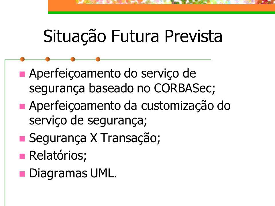 Situação Futura Prevista Aperfeiçoamento do serviço de segurança baseado no CORBASec; Aperfeiçoamento da customização do serviço de segurança; Seguran