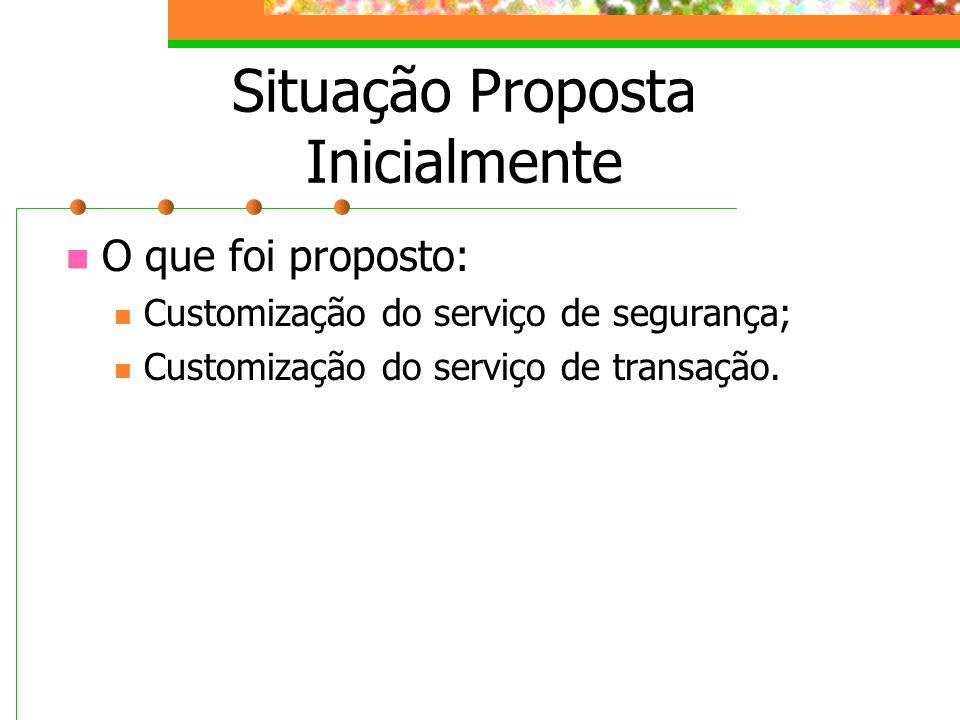 Situação Proposta Inicialmente O que foi proposto: Customização do serviço de segurança; Customização do serviço de transação.
