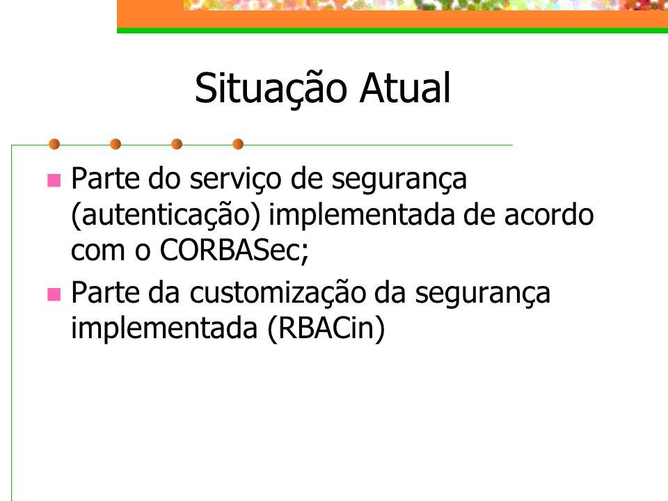 Situação Atual Parte do serviço de segurança (autenticação) implementada de acordo com o CORBASec; Parte da customização da segurança implementada (RB
