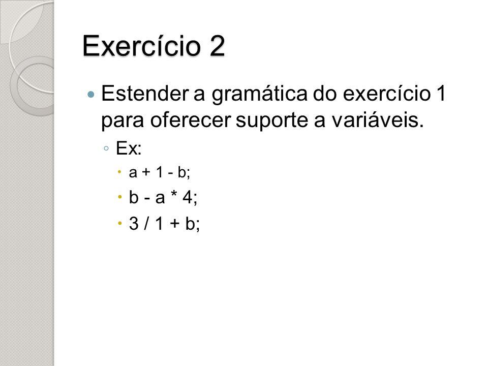 Exercício 2 Estender a gramática do exercício 1 para oferecer suporte a variáveis. ◦ Ex:  a + 1 - b;  b - a * 4;  3 / 1 + b;