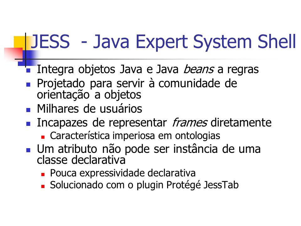 JESS - Java Expert System Shell Integra objetos Java e Java beans a regras Projetado para servir à comunidade de orientação a objetos Milhares de usuá
