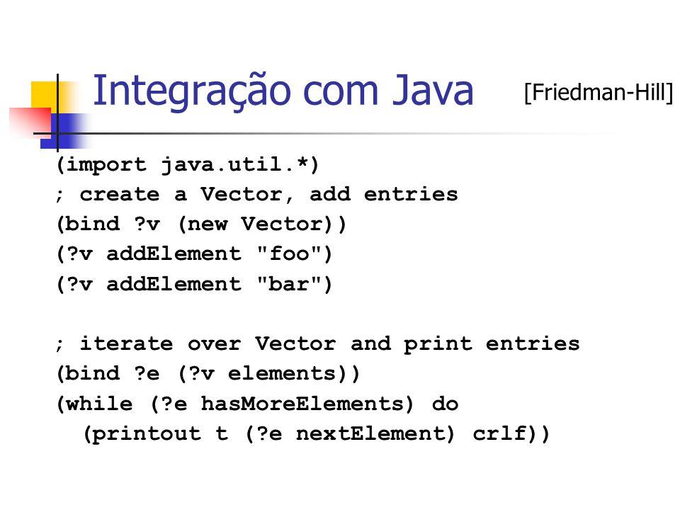 Integração com Java (import java.util.*) ; create a Vector, add entries (bind ?v (new Vector)) (?v addElement