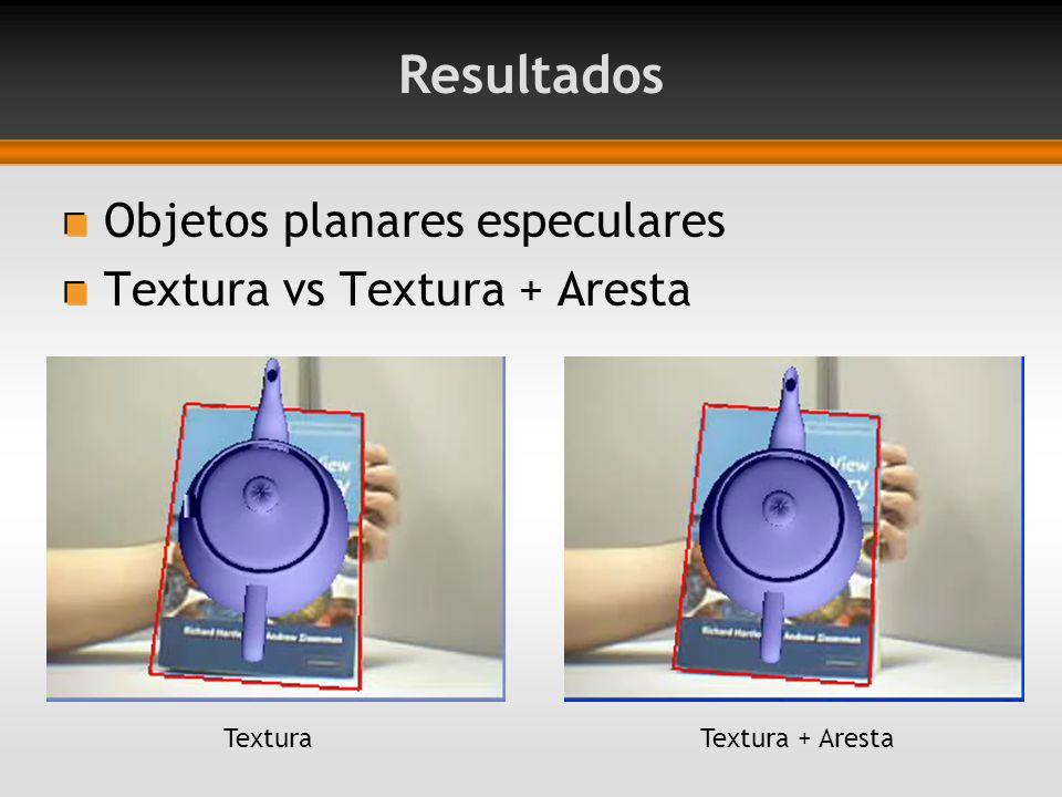 Resultados Objetos planares especulares Textura vs Textura + Aresta TexturaTextura + Aresta
