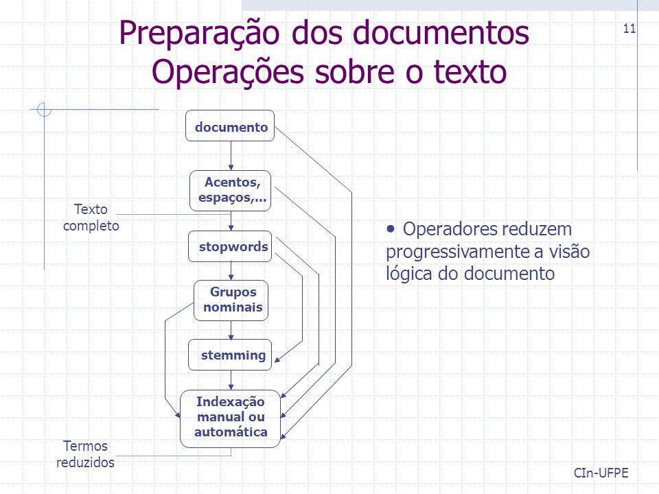 CIn-UFPE 11 Preparação dos documentos Operações sobre o texto documento Acentos, espaços,... stopwords Grupos nominais stemming Indexação manual ou au