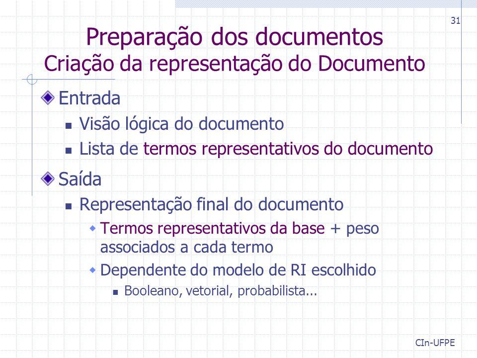 CIn-UFPE 31 Preparação dos documentos Criação da representação do Documento Entrada Visão lógica do documento Lista de termos representativos do docum