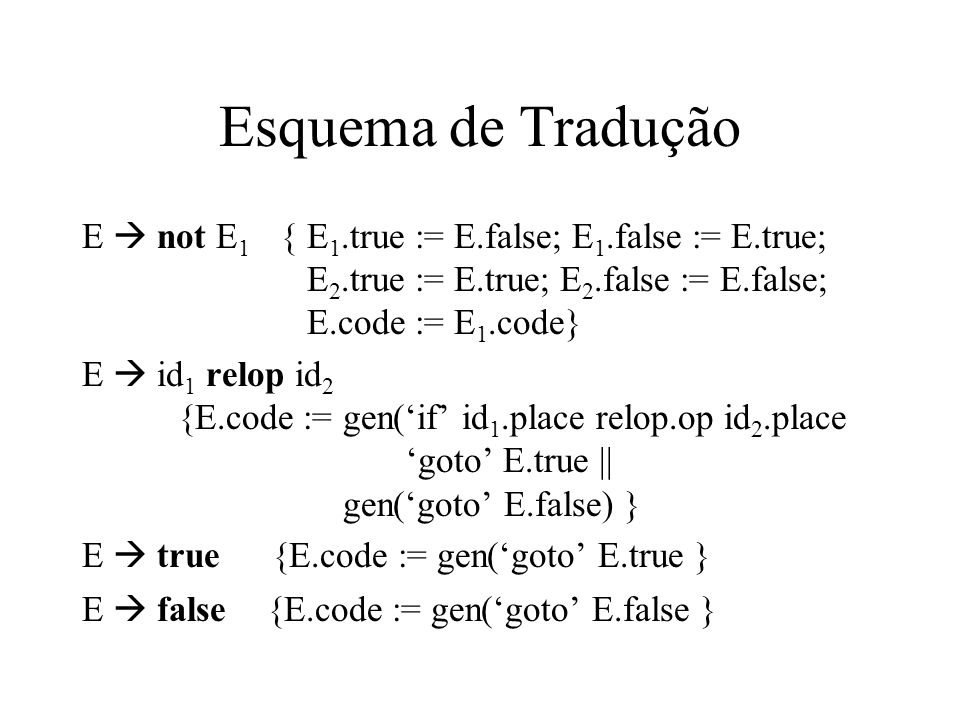 Exemplo 1 a < b or c < d and e < f if a < b goto Ltrue goto L1 L1: if c < d goto L2 goto Lfalse L2: if e < f goto Ltrue goto LFalse é possível otimizar o código acima.