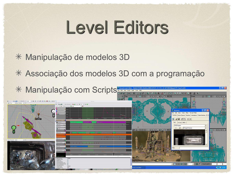 Level Editors Manipulação de modelos 3D Associação dos modelos 3D com a programação Manipulação com Scripts