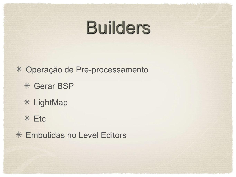Builders Operação de Pre-processamento Gerar BSP LightMap Etc Embutidas no Level Editors
