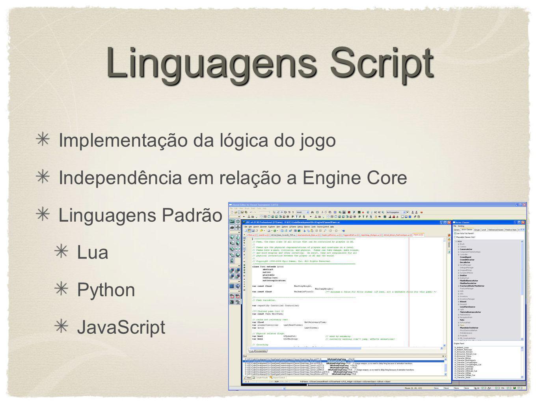 Linguagens Script Implementação da lógica do jogo Independência em relação a Engine Core Linguagens Padrão Lua Python JavaScript