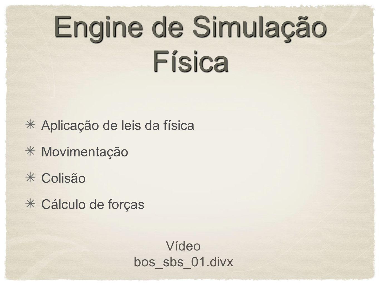 Engine de Simulação Física Aplicação de leis da física Movimentação Colisão Cálculo de forças Vídeo bos_sbs_01.divx