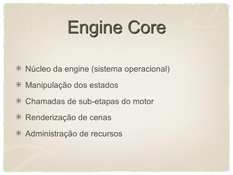 Engine Core Núcleo da engine (sistema operacional) Manipulação dos estados Chamadas de sub-etapas do motor Renderização de cenas Administração de recursos