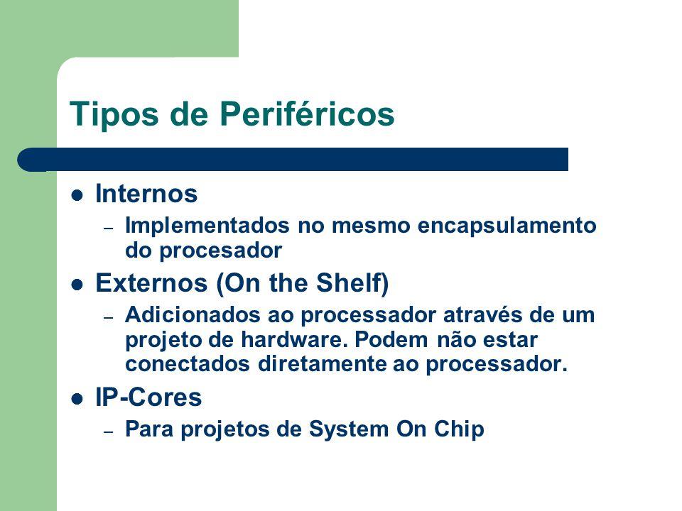 Tipos de Periféricos Internos – Implementados no mesmo encapsulamento do procesador Externos (On the Shelf) – Adicionados ao processador através de um