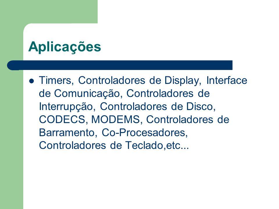 Aplicações Timers, Controladores de Display, Interface de Comunicação, Controladores de Interrupção, Controladores de Disco, CODECS, MODEMS, Controlad