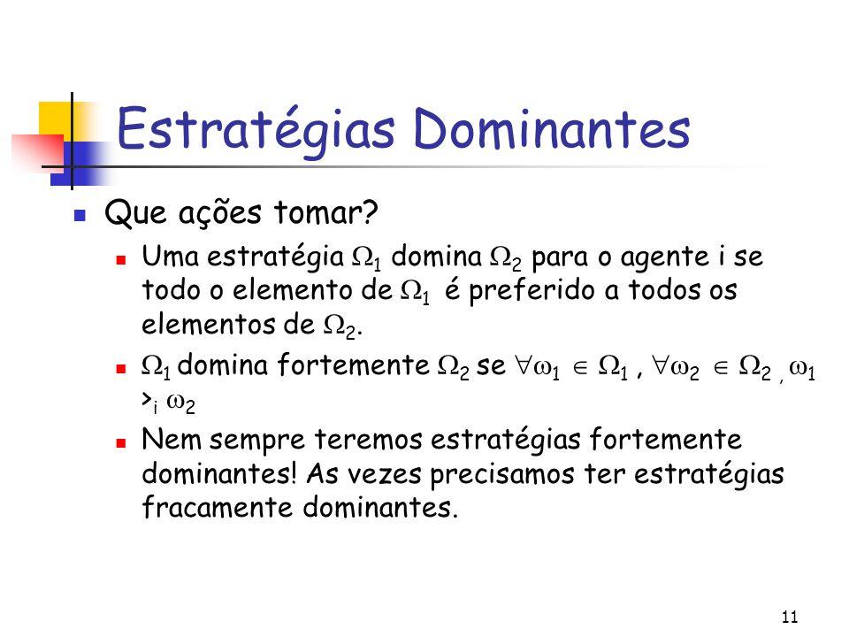 11 Estratégias Dominantes Que ações tomar? Uma estratégia  1 domina  2 para o agente i se todo o elemento de  1 é preferido a todos os elementos de