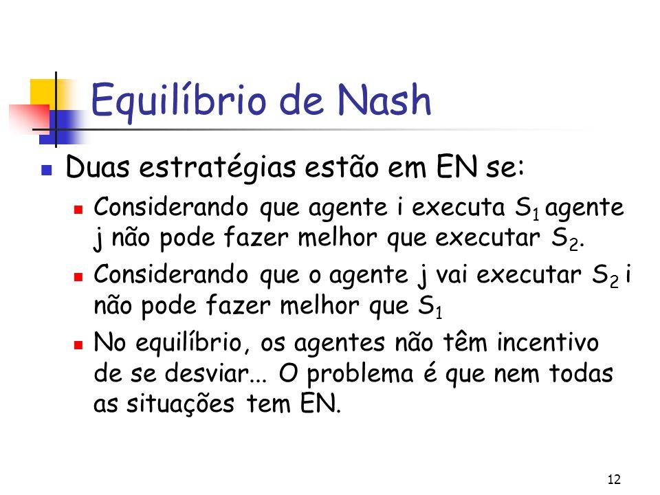 12 Equilíbrio de Nash Duas estratégias estão em EN se: Considerando que agente i executa S 1 agente j não pode fazer melhor que executar S 2. Consider