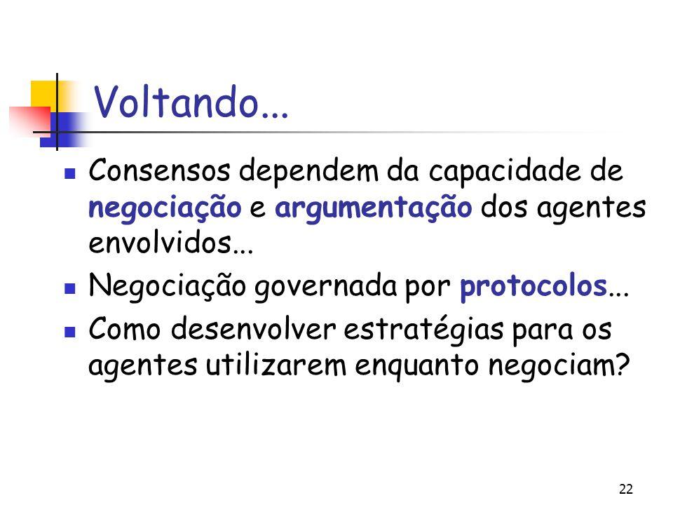 22 Voltando... Consensos dependem da capacidade de negociação e argumentação dos agentes envolvidos... Negociação governada por protocolos... Como des