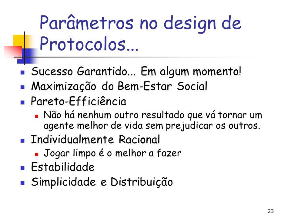 23 Parâmetros no design de Protocolos... Sucesso Garantido... Em algum momento! Maximização do Bem-Estar Social Pareto-Efficiência Não há nenhum outro