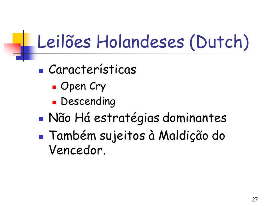 27 Leilões Holandeses (Dutch) Características Open Cry Descending Não Há estratégias dominantes Também sujeitos à Maldição do Vencedor.