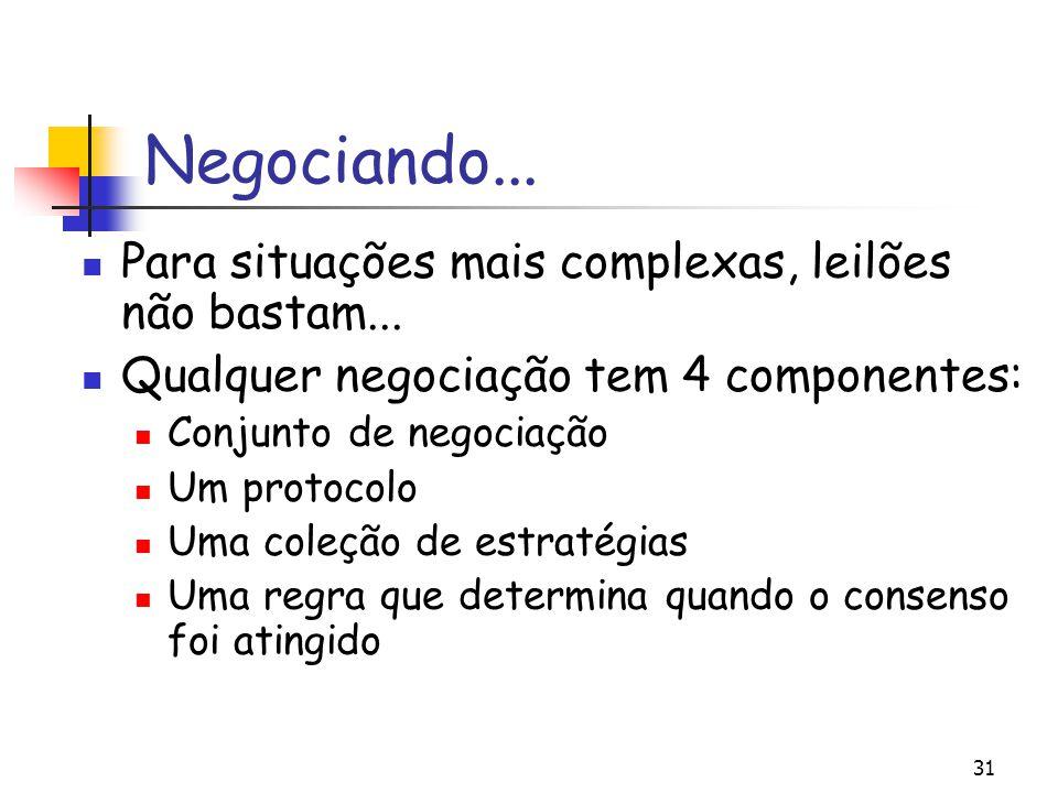 31 Negociando... Para situações mais complexas, leilões não bastam... Qualquer negociação tem 4 componentes: Conjunto de negociação Um protocolo Uma c