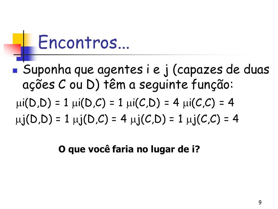 9 Encontros... Suponha que agentes i e j (capazes de duas ações C ou D) têm a seguinte função:  i(D,D) = 1  i(D,C) = 1  i(C,D) = 4  i(C,C) = 4  j