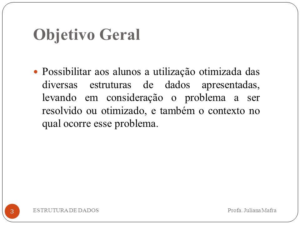 Objetivo Geral 3 Possibilitar aos alunos a utilização otimizada das diversas estruturas de dados apresentadas, levando em consideração o problema a se