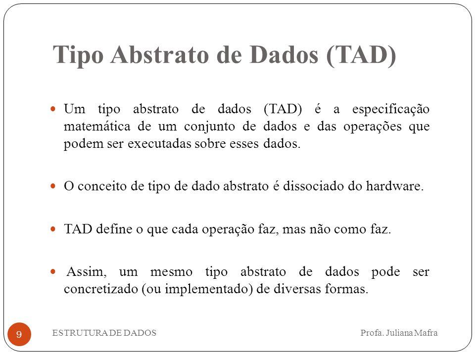 Tipo Abstrato de Dados (TAD) 9 Um tipo abstrato de dados (TAD) é a especificação matemática de um conjunto de dados e das operações que podem ser exec