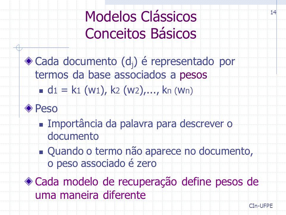 CIn-UFPE 14 Modelos Clássicos Conceitos Básicos Cada documento (d j ) é representado por termos da base associados a pesos d 1 = k 1 (w 1 ), k 2 (w 2 ),..., k n ( w n ) Peso Importância da palavra para descrever o documento Quando o termo não aparece no documento, o peso associado é zero Cada modelo de recuperação define pesos de uma maneira diferente