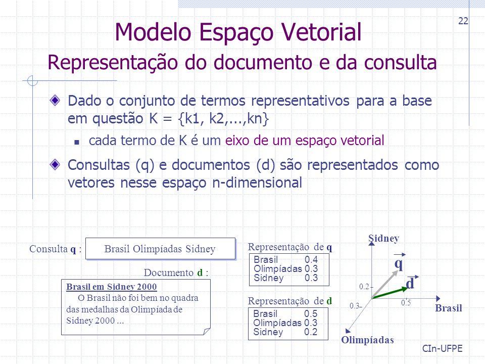 CIn-UFPE 22 Modelo Espaço Vetorial Representação do documento e da consulta Dado o conjunto de termos representativos para a base em questão K = {k1, k2,...,kn} cada termo de K é um eixo de um espaço vetorial Consultas (q) e documentos (d) são representados como vetores nesse espaço n-dimensional Olimpíadas Brasil Sidney d 0.2 0.5 0.3 q Brasil Olimpíadas Sidney Consulta q : Documento d : Brasil em Sidney 2000 O Brasil não foi bem no quadra das medalhas da Olimpíada de Sidney 2000...