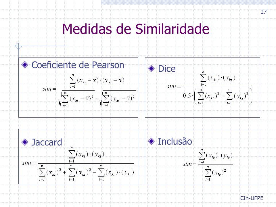 CIn-UFPE 27 Medidas de Similaridade Coeficiente de Pearson Jaccard Dice Inclusão