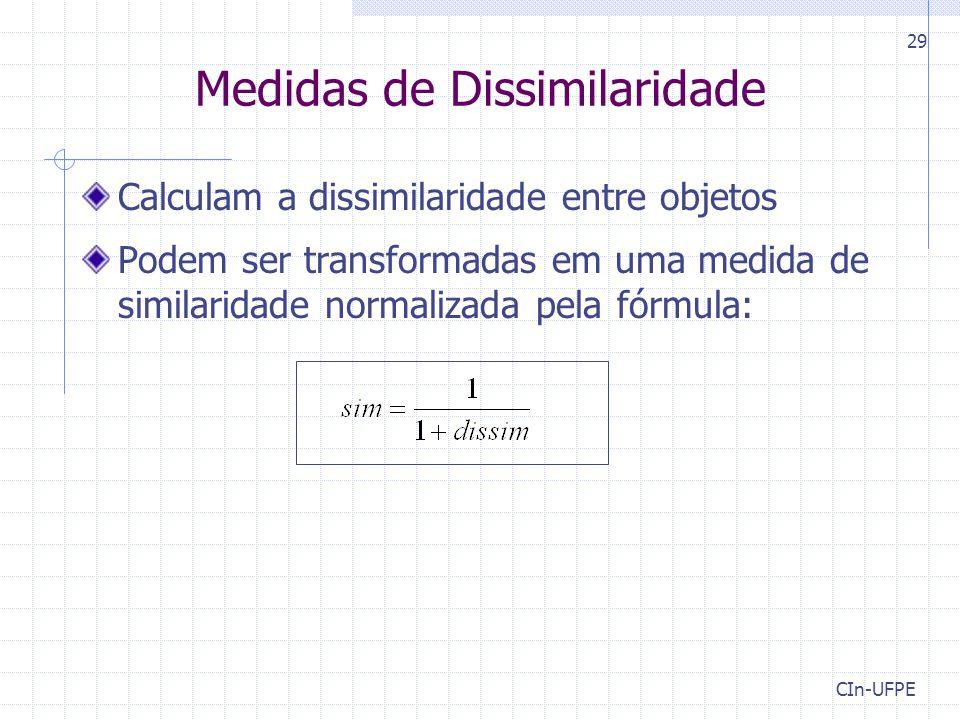CIn-UFPE 29 Medidas de Dissimilaridade Calculam a dissimilaridade entre objetos Podem ser transformadas em uma medida de similaridade normalizada pela fórmula:
