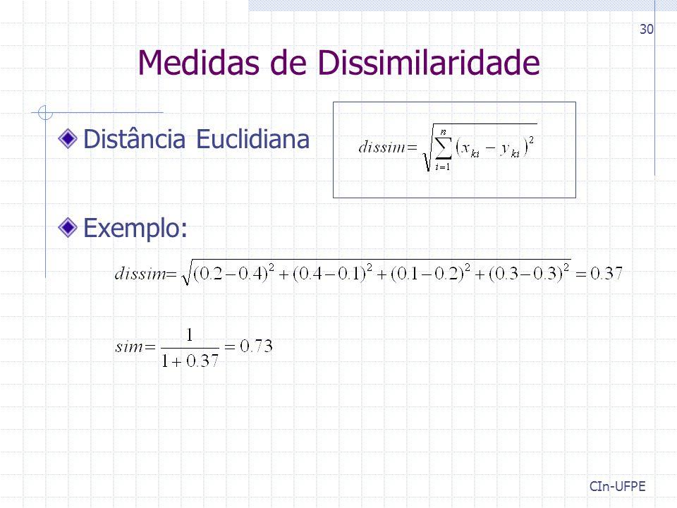 CIn-UFPE 30 Medidas de Dissimilaridade Distância Euclidiana Exemplo: