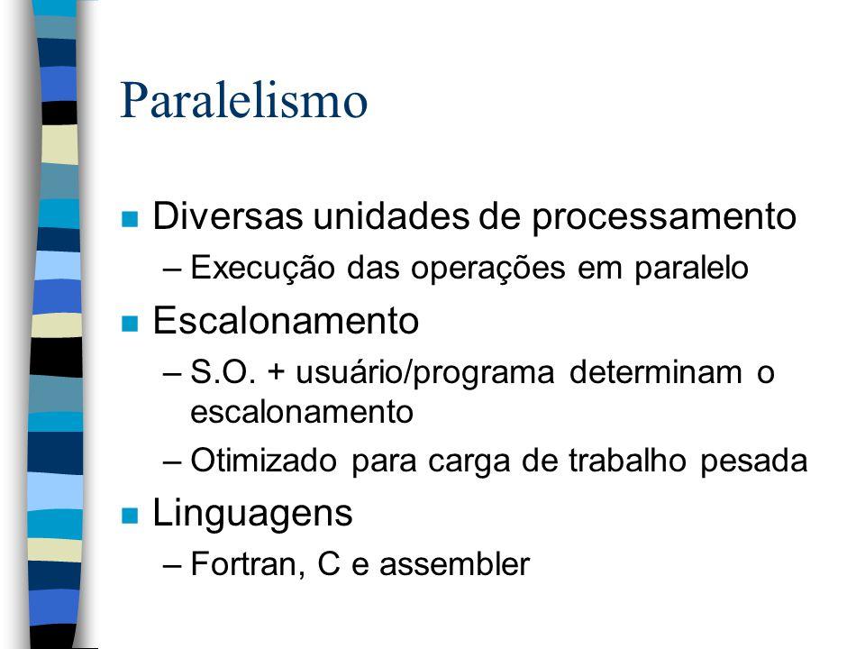 Paralelismo n Diversas unidades de processamento –Execução das operações em paralelo n Escalonamento –S.O.