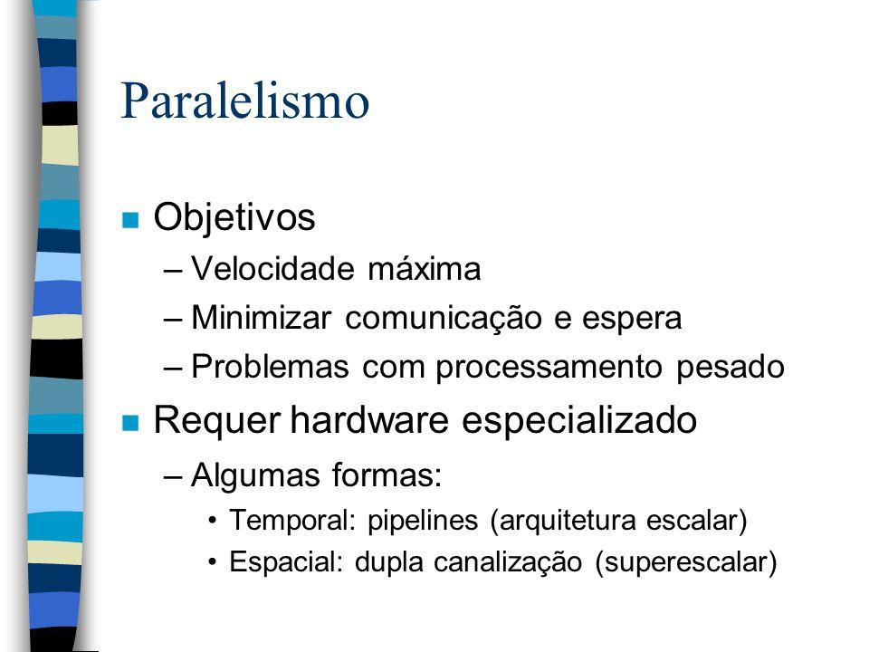 Paralelismo n Objetivos –Velocidade máxima –Minimizar comunicação e espera –Problemas com processamento pesado n Requer hardware especializado –Algumas formas: Temporal: pipelines (arquitetura escalar) Espacial: dupla canalização (superescalar)