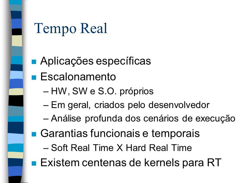 Tempo Real n Aplicações específicas n Escalonamento –HW, SW e S.O.