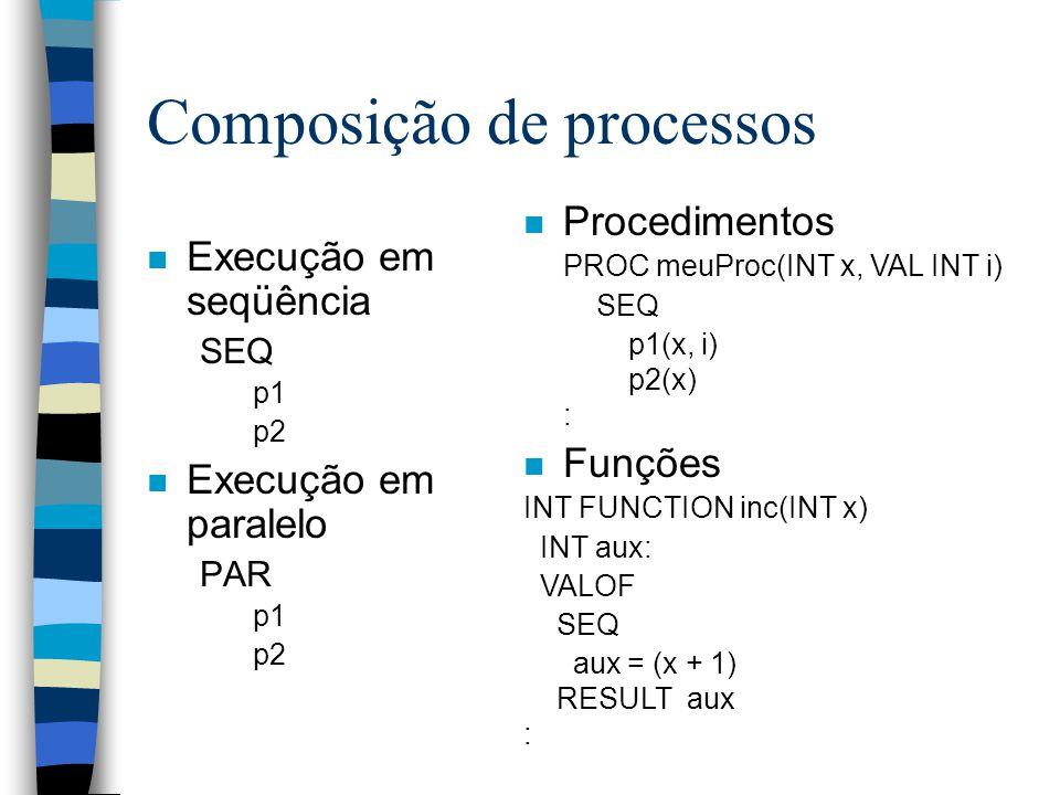 Composição de processos n Execução em seqüência SEQ p1 p2 n Execução em paralelo PAR p1 p2 n Procedimentos PROC meuProc(INT x, VAL INT i) SEQ p1(x, i) p2(x) : n Funções INT FUNCTION inc(INT x) INT aux: VALOF SEQ aux = (x + 1) RESULT aux :