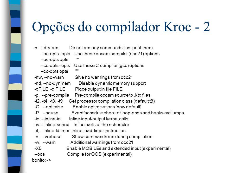 Opções do compilador Kroc - 2 -n, --dry-run Do not run any commands; just print them.