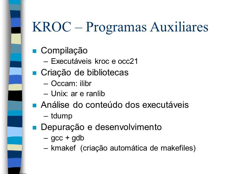 KROC – Programas Auxiliares n Compilação –Executáveis kroc e occ21 n Criação de bibliotecas –Occam: ilibr –Unix: ar e ranlib n Análise do conteúdo dos executáveis –tdump n Depuração e desenvolvimento –gcc + gdb –kmakef (criação automática de makefiles)