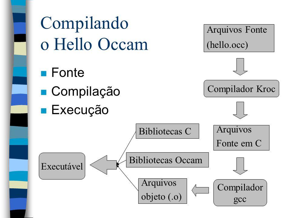 Compilando o Hello Occam n Fonte n Compilação n Execução Arquivos Fonte (hello.occ) Arquivos Fonte em C Compilador Kroc Compilador gcc Arquivos objeto (.o) Bibliotecas C Bibliotecas Occam Executável