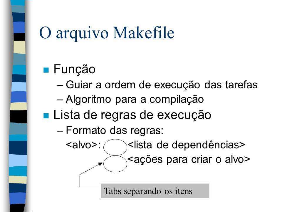 n Função –Guiar a ordem de execução das tarefas –Algoritmo para a compilação n Lista de regras de execução –Formato das regras: : O arquivo Makefile Tabs separando os itens