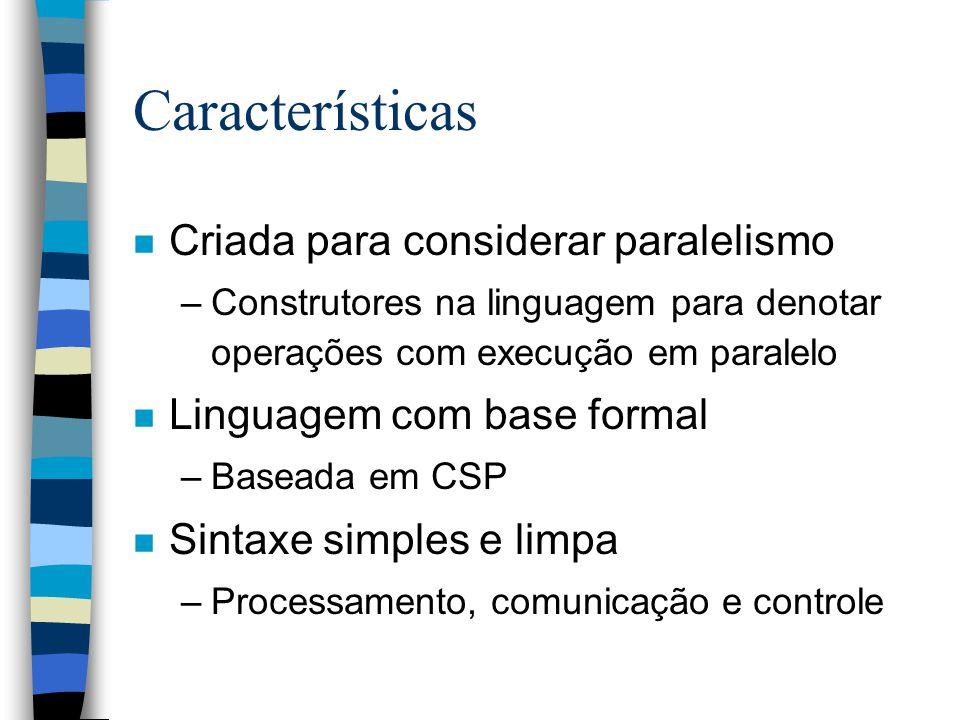 Communicant Sequential Processes n Base formal para a linguagem Occam n Modelo de processamento paralelo n Processos seqüenciais n Cooperação: –Comunicação explícita (troca de dados) –Não existem variáveis compartilhadas