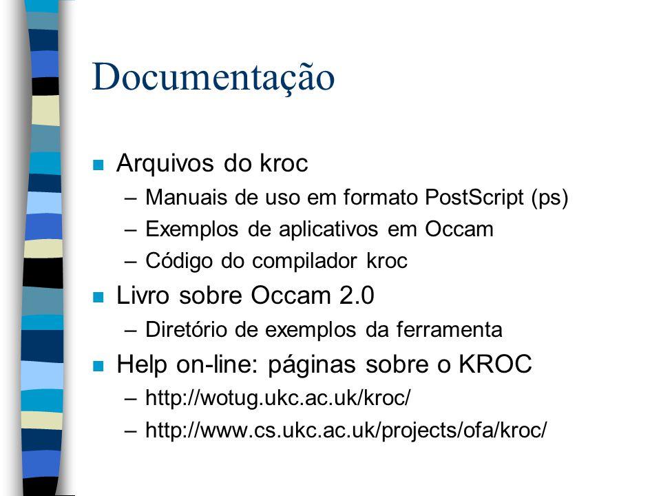 Documentação n Arquivos do kroc –Manuais de uso em formato PostScript (ps) –Exemplos de aplicativos em Occam –Código do compilador kroc n Livro sobre Occam 2.0 –Diretório de exemplos da ferramenta n Help on-line: páginas sobre o KROC –http://wotug.ukc.ac.uk/kroc/ –http://www.cs.ukc.ac.uk/projects/ofa/kroc/