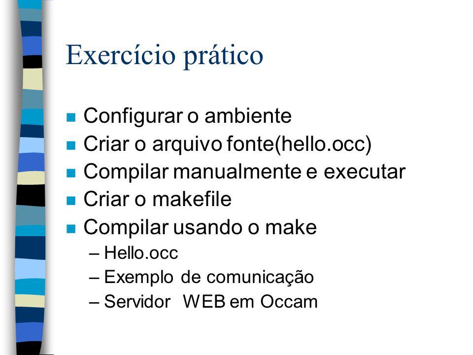 Exercício prático n Configurar o ambiente n Criar o arquivo fonte(hello.occ) n Compilar manualmente e executar n Criar o makefile n Compilar usando o make –Hello.occ –Exemplo de comunicação –Servidor WEB em Occam
